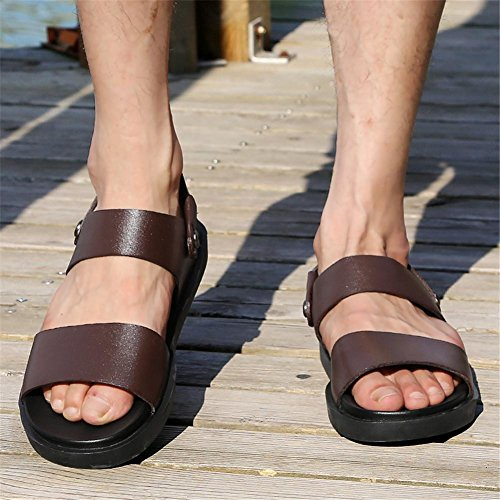 Scarpe Sandali estiva Pull Spiaggia 38 da NSLXIE Slipper EU38 on Dimensioni 44 da Toe uomo in traspiranti pelle Scivoli a antiscivolo Open vera 8dtwqwx0