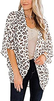 CHICGAL Women's Floral Print Puff Sleeve Kimono Cardigan Loose Cover Up Casual Blouse