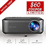 Video Projector, GuDee Native 1080P Full HD HDMI Office Projector for Laptop Business PowerPoint Presentation and Home Theater, Compatible with iPhone/Android/USB/HDMI