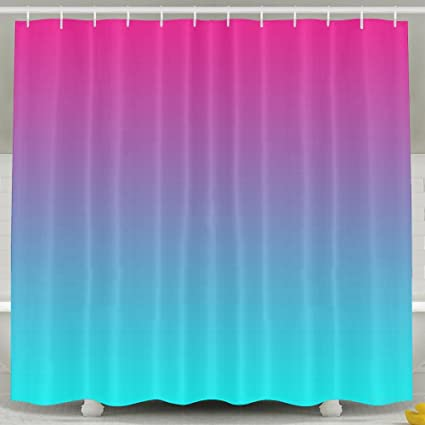 Image Unavailable Not Available For Color BESTSC Bath Curtain Blue Linear Gradient Pink Shower