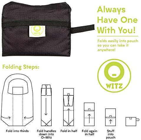 O-WITZ Reusable Shopping Bags, Ripstop, Folds into Pouch, 5 Packs, Animal Pics
