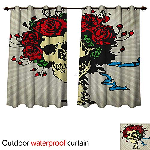 WilliamsDecor Rose Outdoor Curtain for Patio Tattoo Art Style Graphic Skull in Red Flowers Crown Halloween Composition Print W55 x L45(140cm x 115cm) for $<!--$39.60-->