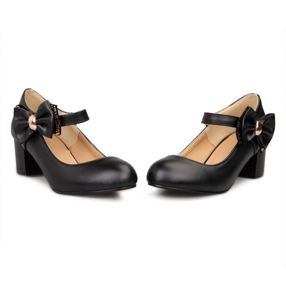 9adf4c382d0e Women's Block Mid Heel Round Toe Mary Janes Shoes with Side Bow Ornamented  Ankle Strap Gift Pumps Shoes for Girls Ladies Teens Black White Brown
