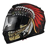 Triangle Motorcycle Street Bike Dual Visor Helmets DOT Approved (Indian Red, Large)