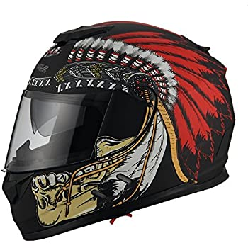 Triangle Motorcycle Street Bike Dual Visor Helmets DOT Approved (Small, Indian Red)