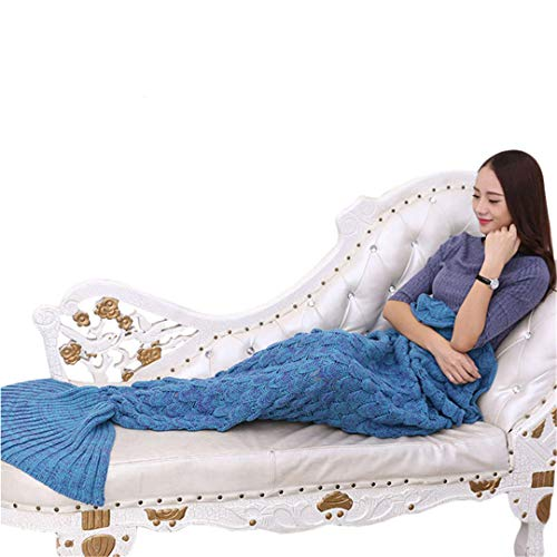 L-APZRIER Handmade Yarn Knitted Mermaid Tail Blanket for Adult Kids Throw Bed Wrap Super Soft Crochet Warm Blanket 3 Sizes Blanket 004 140x70cm (for 1.4m) ()