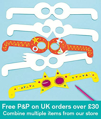 Baker Ross Glasses Card 4 Assorted Art & Craft Shapes for Children to Decorate Personalise and Wear (Pack of 12)