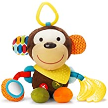 Skip Hop Bandana Buddies Baby Activity and Teething Toy with Multi-Sensory Rattle and Textures, Monkey