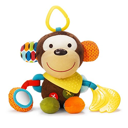 Skip Hop Bandana Buddies Baby Activity and Teething Toy with Multi-Sensory Rattle and Textures, Monkey ()