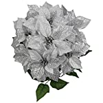 Admired-By-Nature-7-Stems-Faux-Poinsettia-Sequins-Flowers-Bush-for-Home-Office-Hotel-and-Seasonal-Events-Arrangement-Decoration-Silver