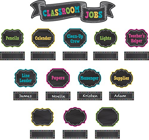 Teacher Created Resources Chalkboard Brights Classroom Jobs Mini Bulletin Board