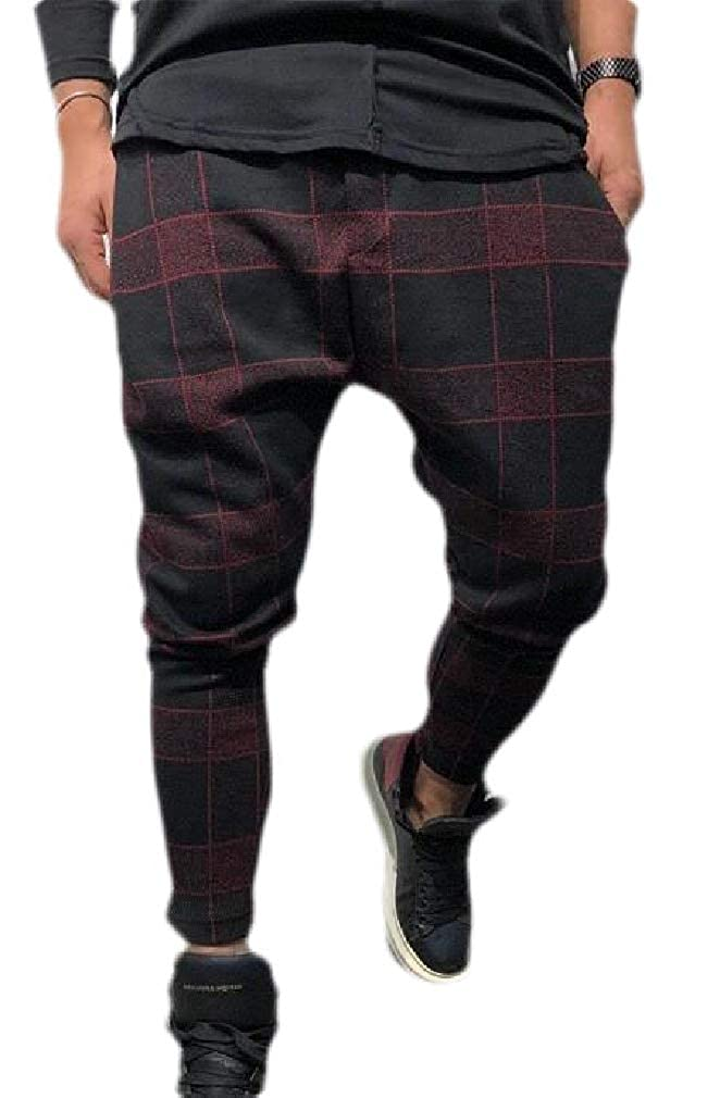 Smallwin Mens Checkered Sport Casual Harem Pants Drop Crotch Pants Trousers