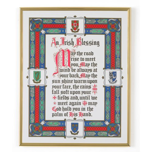 Irish Blessing Framed Print with St. Patrick Holy Card May the Road Rise to Meet You