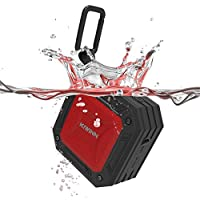 Bluetooth Speaker, Kiwinn Wireless 4.2 Portable Outdoor with Built-in Mic IP67 rating Waterproof, 20 Hours Playback 66 Feet Range Superior Sound Enhanced Bass, Shower Home Speaker Black Red