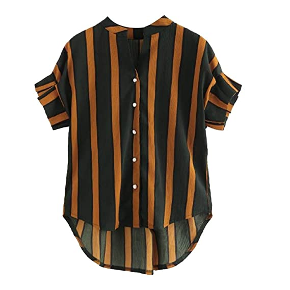 Buy Rosatro Women T Shirt Summer Fashion Women Short Sleeve Stripe Plus Size Button Casual T Shirt Tops Brown Xxxl At Amazon In