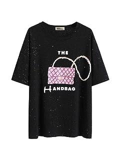 S&RL Grande T-Shirt Femminile a Maniche Corte Estate Vestito Lucido Camicia a Maniche Lunghe Sciolto Marea, Nero, l