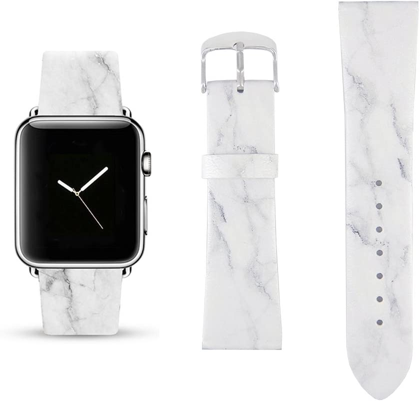 White Marble Replacement Band Compatible for iWatch 38mm/40mm Pastel Bay Wrist Band PU Leather Strap for Apple Watch Smartwatch Series 5 4 3 2 1 Version