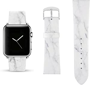 White Marble Replacement Band Compatible for iWatch 42mm/44mm Pastel Bay Wrist Band PU Leather Strap Compatible for Apple Watch Smartwatch Series 4 3 2 1 Version
