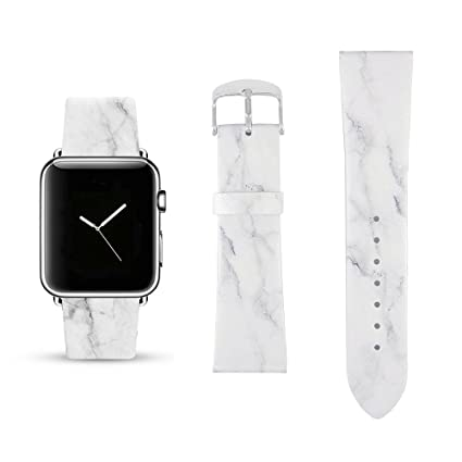 Pastel Bay White Marble Replacement Band Compatible for iWatch 38mm/40mm Wrist Band PU Leather Strap for Apple Watch Smartwatch Series 4 3 2 1 Version