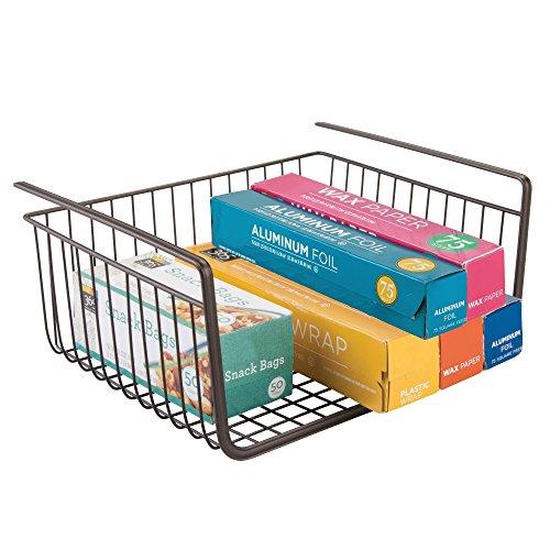 iDesign York Metal Under Shelf Basket Storage Organizer for Kitchen, Bathroom, Office, Bronze