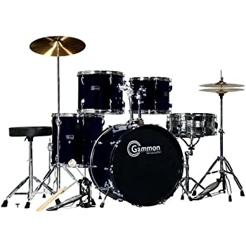 black drum set for sale with cymbals hardware and stool new gammon 5 piece kit full. Black Bedroom Furniture Sets. Home Design Ideas