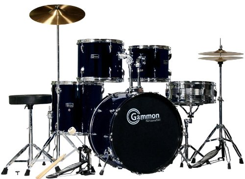 Black Drum Set for Sale with Cymbals Hardware and Stool New Gammon 5-Piece Kit Full Size