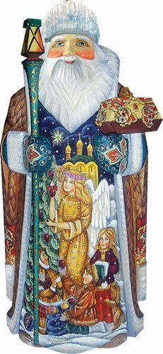 G. Debrekht Holy Tree Father Frost Santa Carved Wood and Hand-Painted Figurine by G. Debrekht
