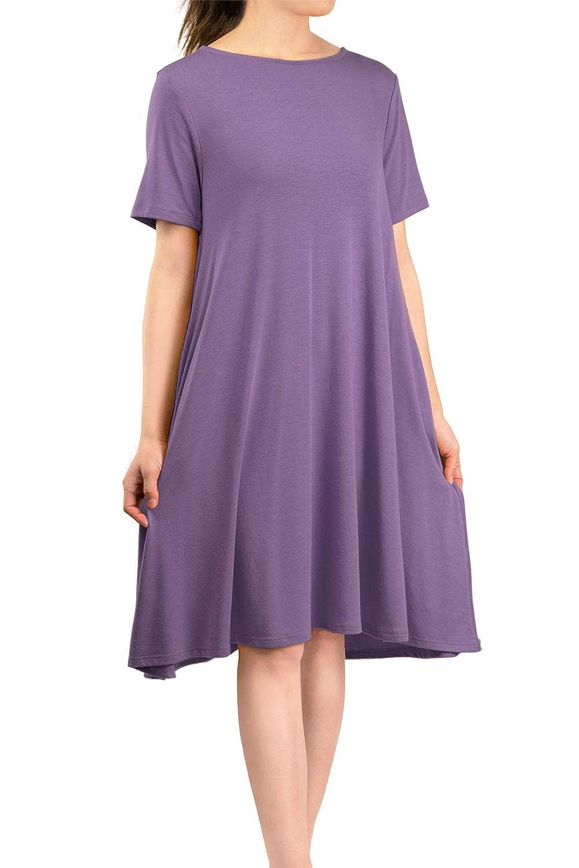 purplec Grey Malibu Days Women's Side Pockets Short Sleeve Casual Basic Loose Plain Solid Flared T Shirt Midi Dress