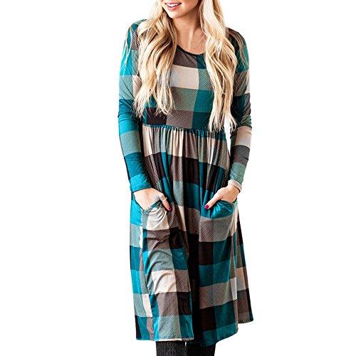 Women Stripes Long Sleeve V-Neck Bottons Slim Casual Dress XL - - 1