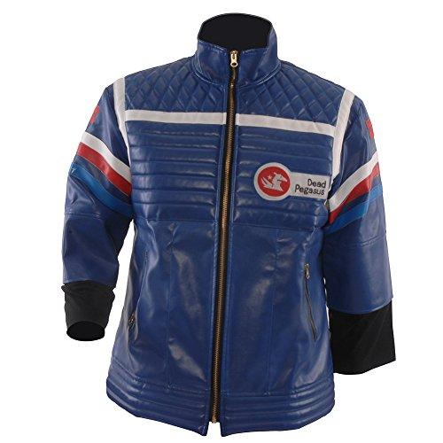 Allten Men's Costume Blue or Black Leather Punk Jacket Blue M