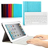 CoastaCloud iPad 2/3/4 Really Thin Smart Stand Cover with Magnetically Detachable Wireless Bluetooth Keyboard Case for Apple iPad 2 3 4 (Sky Blue)