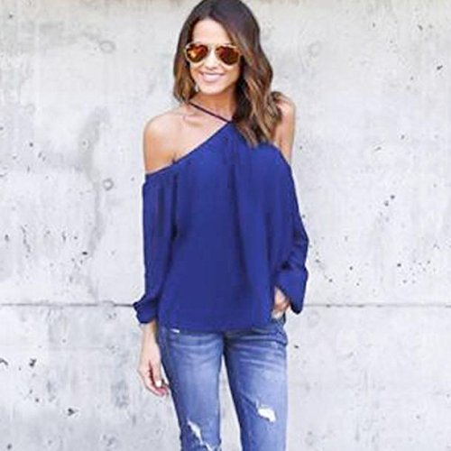 ZYooh Women Off Shoulder Casual Blouse,sexy Long Sleeve Pullover Strapless T Shirt Cute Fashion Irregular Top (blue, (Cutout Swimming Costume)