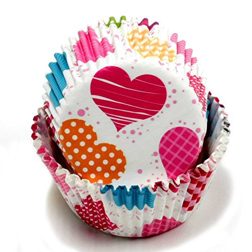 Chef Craft 50 Count Cupcake Liners, Multicolored Hearts