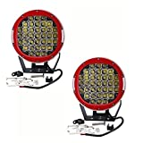 AUSI Pair 9 Inch Round 111W Indensity Led Spot Light Driving lights Headlamp For offroad 4wd 4x4 JEEP FORD TOYOTA Pickup Auxliary Front Bumper/Roof Driving Headlight 8880LM(37PCS3W) RED
