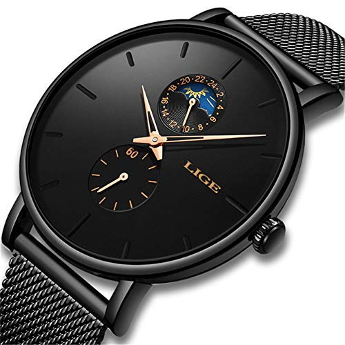 LIGE Mens Fashion Watch Minimalist Casual Analog Quartz Watches with Black Stainless Steel Mesh Band Luxury Wrist Watches (Best Luxury Watches 2019)