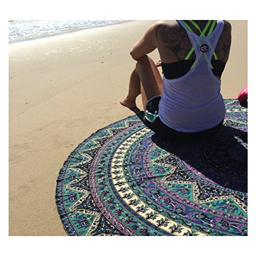 Handmade Bohemian Hippie Square Mandala Indian Tapestry In Vibrant Blue and Purple, 100% Cotton, Superior Quality (R7 Blue,Purple)