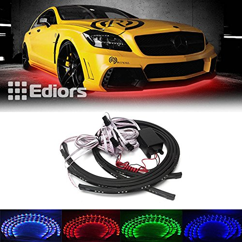 Ediors® Ediors Under Vehicle Tray Fusion 7 Color LED Under Car Glow Underbody System Neon Strip Lights Remote Kit 36 Exit Tray