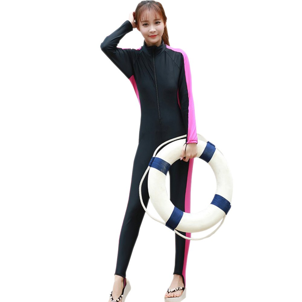 XFentech Men Women Full Length Surfing Suit Wetsuit Long Sleeve Swimsuit for Diving Swimming Watersports, Pink-Women/3XL
