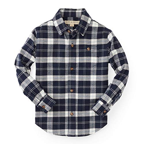 Hope & Henry Boys' Blue and White Plaid Woven Button Down ()