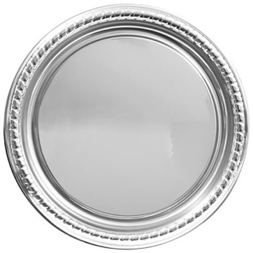 Party Supplies - Elegant Large Round Silver Plastic Serving Trays, 16