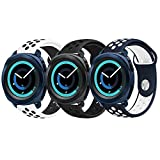 Gear Sport Band, KADES Soft Silicone Band Breathable Replacement Strap Quick-release Pin for Pebble Time Round 20mm/ Ticwatch 2/ Ticwatch E/ Garmin VivoActive 3/ 20mm Smart Watch Band- Pack with 3