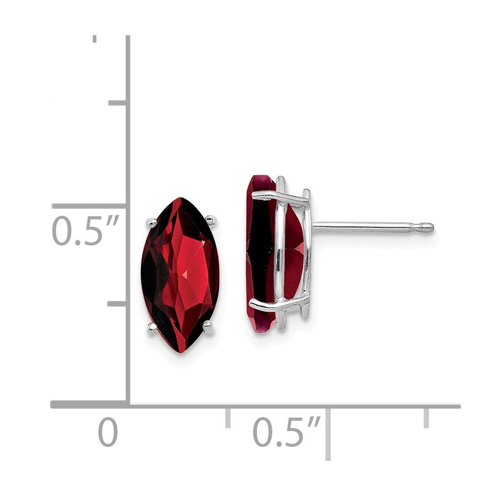 ICE CARATS 14kt White Gold 10x5mm Marquise Red Garnet Post Stud Ball Button Earrings Gemstone Fine Jewelry Ideal Gifts For Women Gift Set From Heart