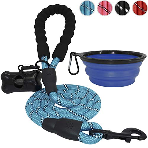 BARKBAY 5 Feet Reflective Dog Rope Leash with Comfortable Padded Handle Strong Durable Nylon for Medium Large Dogs