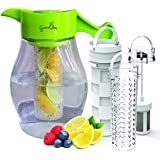 Fruit and Tea Infusion Pitcher - Free Recipe Ebook - Water & tea infuser jug includes 3 infusers for fruit, tea and ice to enhance the flavor of water - Perfect for detox and weight loss
