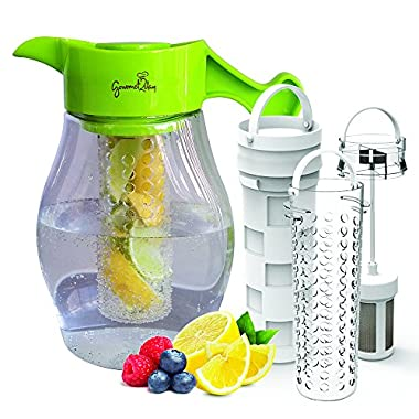 Fruit & Tea Infusion Pitcher - FREE Beverage Infused Recipe Ebook - Water & tea infuser jug includes 3 infusers for fruit, tea and ice to enhance the flavor of water - Perfect for detox