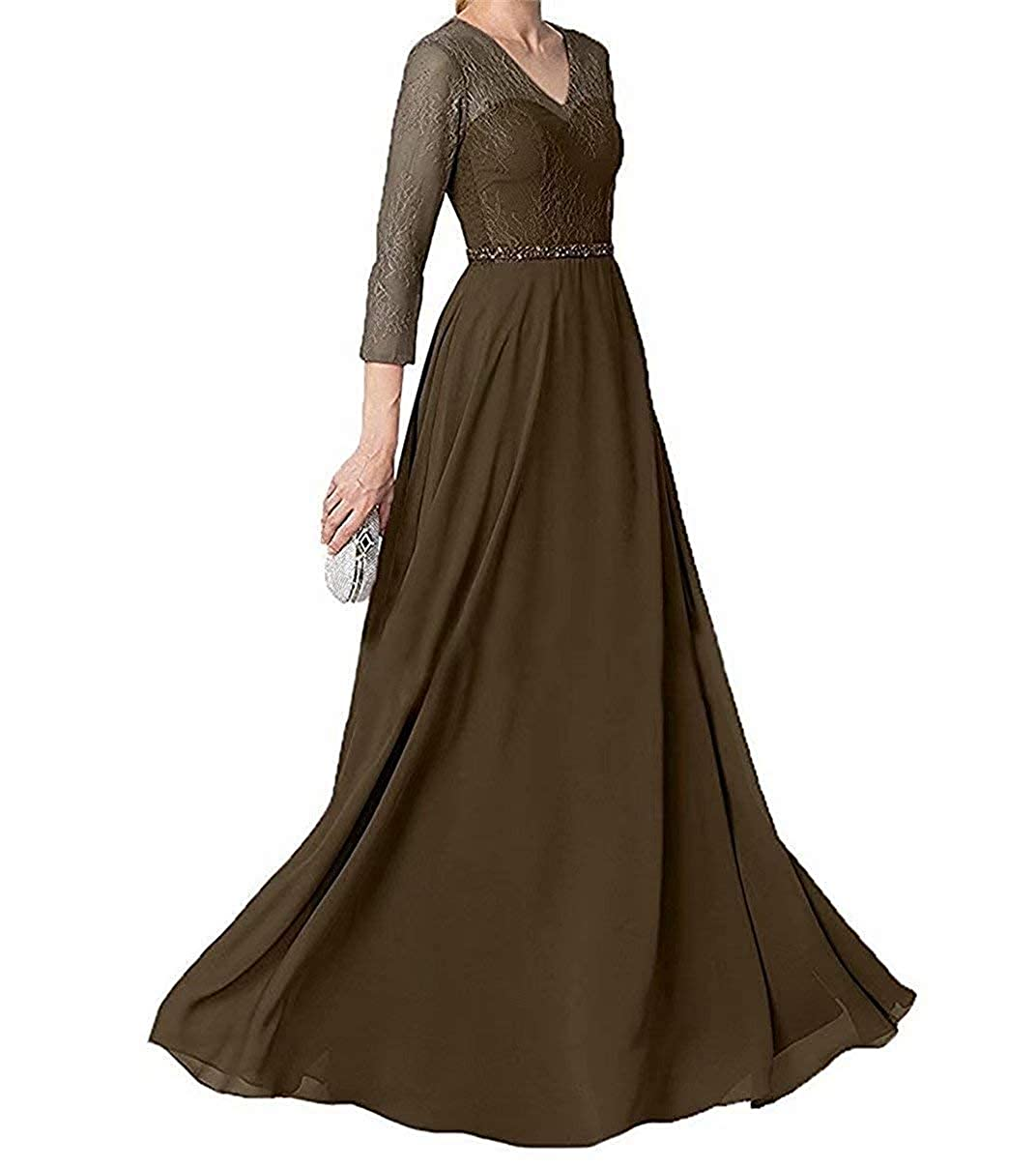 Brown Mother of The Bride Dresses with Sleeves Long Evening Party Dresses V Neck