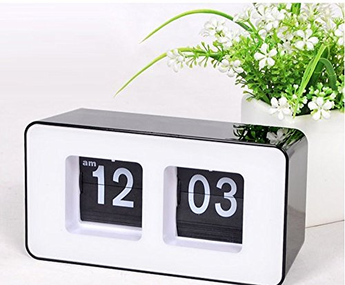 Erasky Modern Retro Auto Flip Clock Desk Table File Down Page Clock (Clock Table Flip)