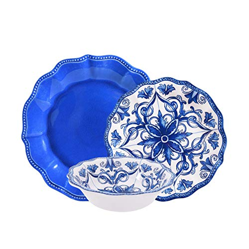 First Design Global DNS0619 Antique Decorative Floral Tile White and Blue 12 Piece Melamine Dinnerware Set, For Parties or Everyday Use, Service for 4,