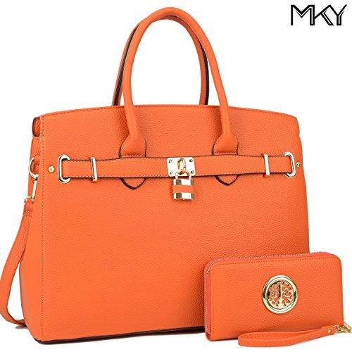 Women Large Handbag Designer Purse 2 Pieces Set Leather Satchel Top Handle Shoulder Bag Orange (Handbag Designer Yellow)