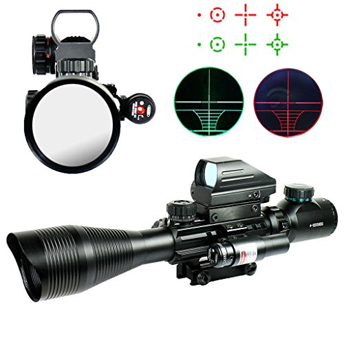 Spike 4-12X50EG Tactical Rifle Scope with Holographic 4 Reticle Sight & Red Laser Combo Airsoft Weapon Sight Hunting by IRON JIA'S